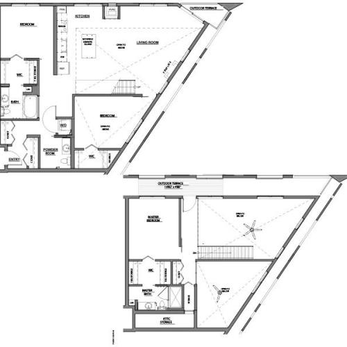 three bed two bath D floor plan
