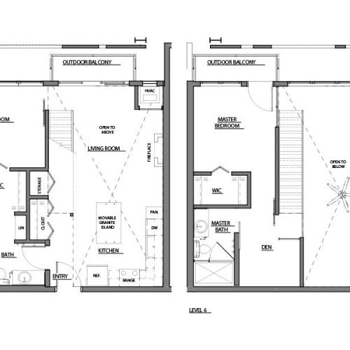 two bed two bath C floorplan