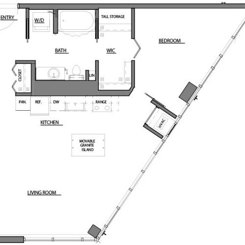 one bed one bath A12 floorplan