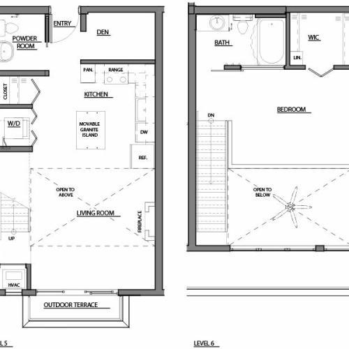 one bed one bath A13 floorplan