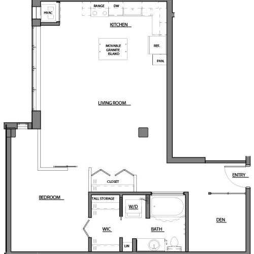 one bed one bath A15 floorplan