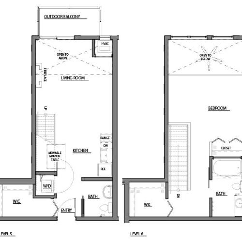 one bed one bath A6 floorplan