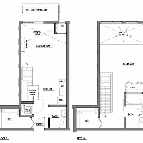 one bed one bath A6 floorplan
