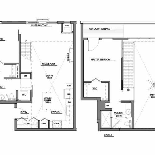two bed two bath C2 floorplan