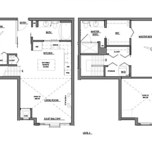 two bed two bath C6 floorplan