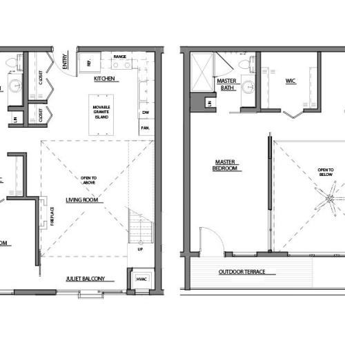 two bed two bath C9 floorplan