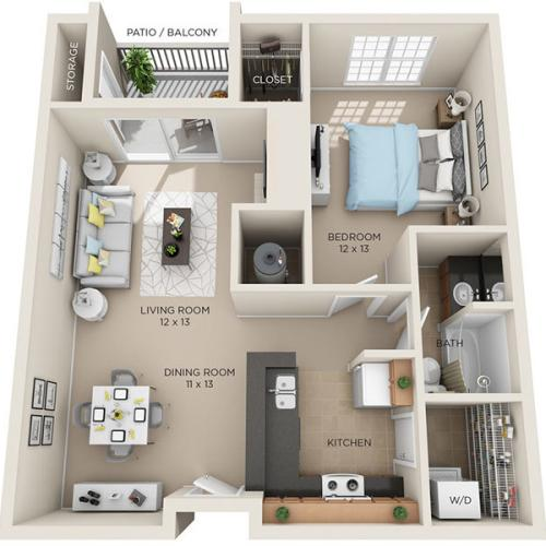 one bed one bath A3p floorplan