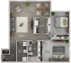two bed one bath B1 floor plan
