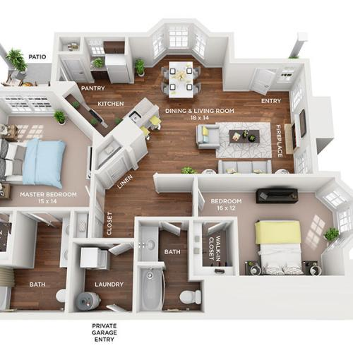 two bed two bath Grand Haven floorplan