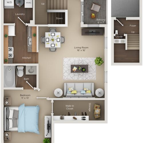 one bed one bath A1 floorplan