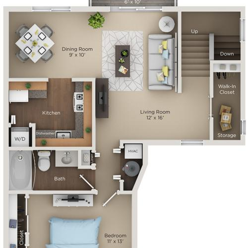 one bed one bath A2 floorplan