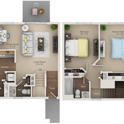 two bed one and half bath C floorplan