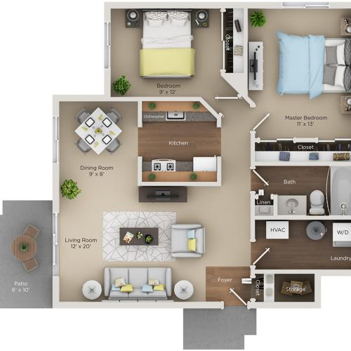 two bed one bath B floorplan