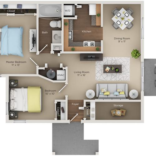 two bed one bath B2 floorplan