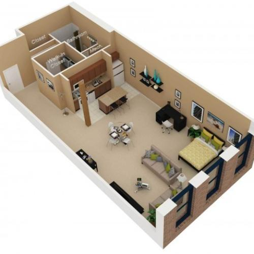 Floor Plan 2   One Bedroom Apartments For Rent In Chicago   Cobbler  Square Lofts. 2 Bed   1 Bath Apartment in Chicago IL   Cobbler Square Lofts