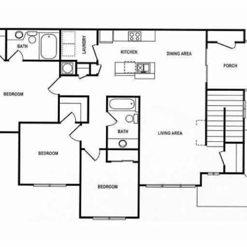 3 Bedroom Floor Plan | Spotswood Commons