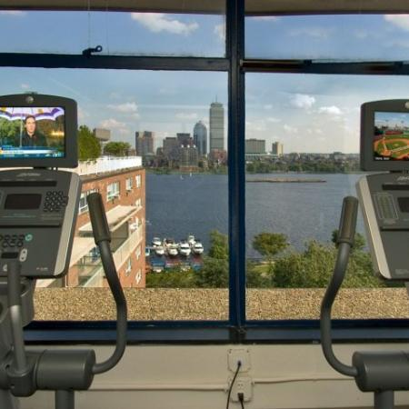 Apartments near MIT with fitness center overlooking Boston