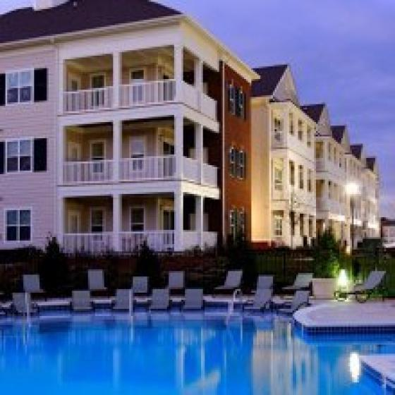 Resort-style pool and views of our apartments in Lexington Park, MD