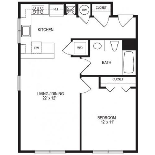 1 Bedroom Floor Plan | Rumney Flats