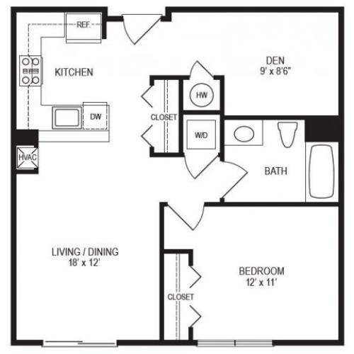 1 Bedroom Floor Plan | Rumney Flats 2