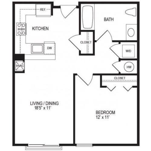 1 Bedroom Floor Plan | Rumney Flats 3