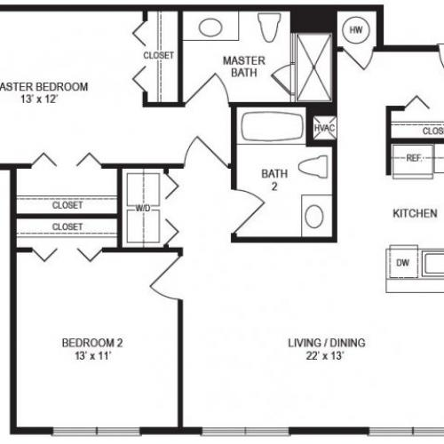 2 Bedroom Floor Plan | Rumney Flats 2