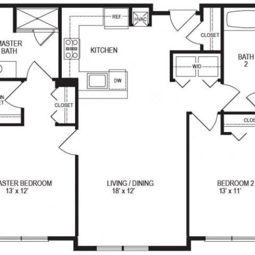 2 Bedroom Floor Plan | Rumney Flats 4