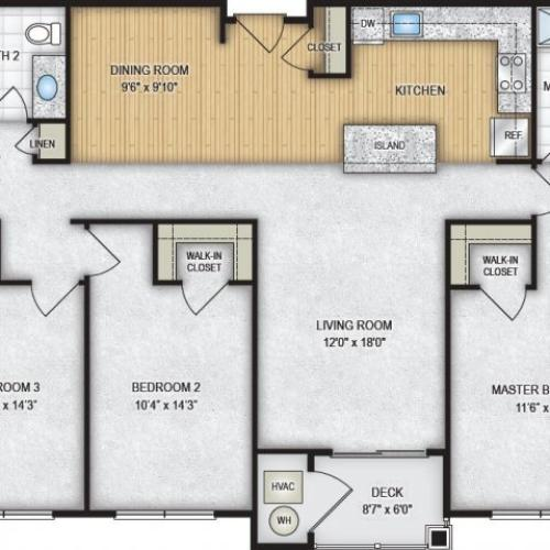 3 Bedroom Floor Plan | The Park at Winter\'s Run 2