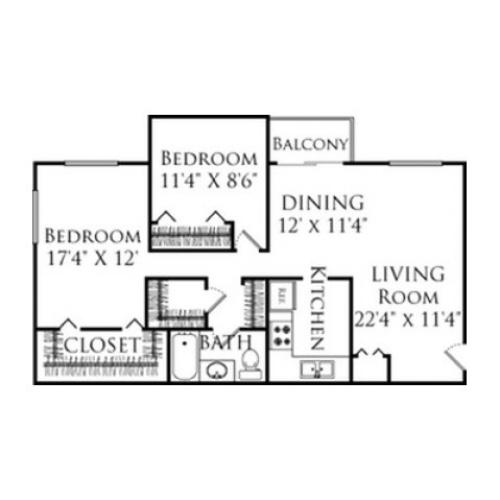 2 Bdrm Floor Plan | Fall River Apartment Rentals | South Winds