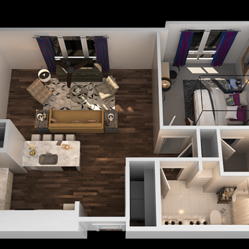 H 1 Bedroom Floor Plan | Towson Luxury Apartments | The Southerly