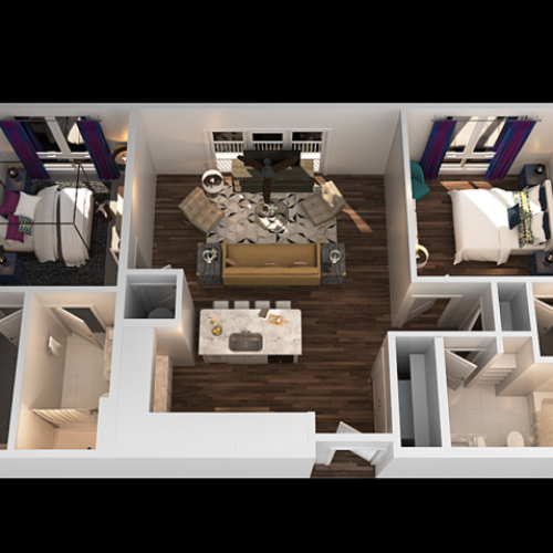 A 2 Bedroom Floor Plan   Luxury Apartments In Towson MD   The Southerly
