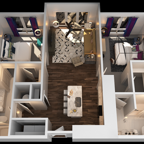 B 2 Bedroom Floor Plan | Luxury Apartments In Towson MD | The Southerly