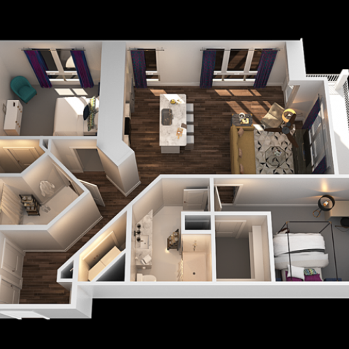 I 2 Bedroom Floor Plan | Luxury Apartments In Towson MD | The Southerly