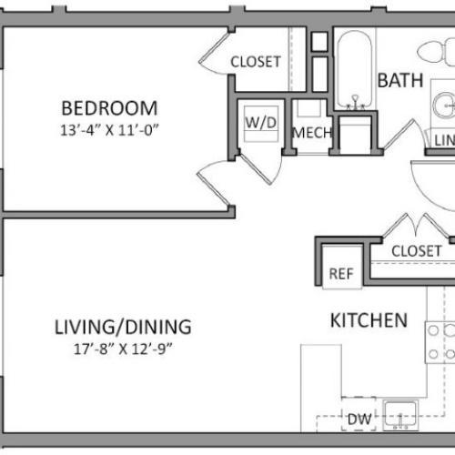 1 Bedroom Floor Plan | Luxury Beverly MA Apartments | The Flats at 131
