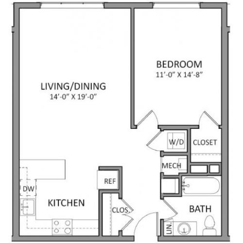 1 Bdrm Floor Plan | Luxury Apartments in Beverly MA | The Flats at 131