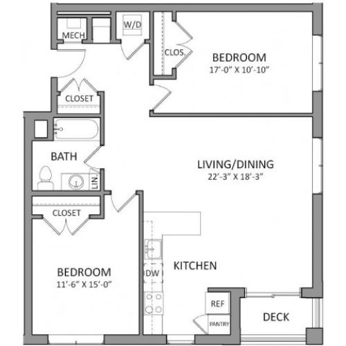 2 Bedroom Floor Plan | Beverly MA Luxury Apartments | The Flats at 131