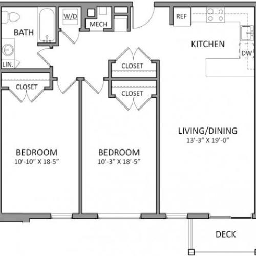2 Bdrm Floor Plan | 1 Bedroom Apartments in Beverly MA | The Flats at 131
