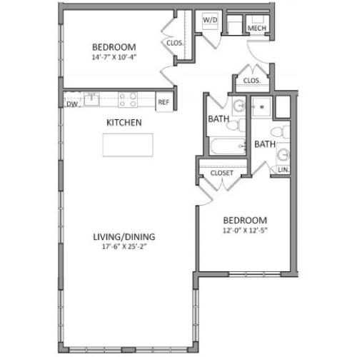 Floor Plan 3 | Beverly MA Luxury Apartments | The Flats at 131