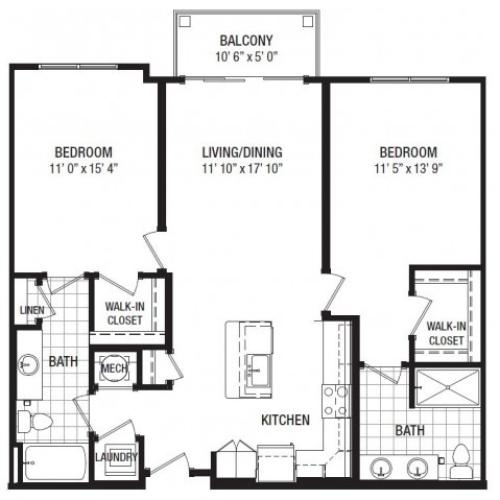 F 2 Bedroom Floor Plan | Luxury Apartments In Towson MD | The Southerly