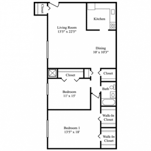 2 Bdrm Floor Plan | Apartments For Rent Milford MA | Rolling Green