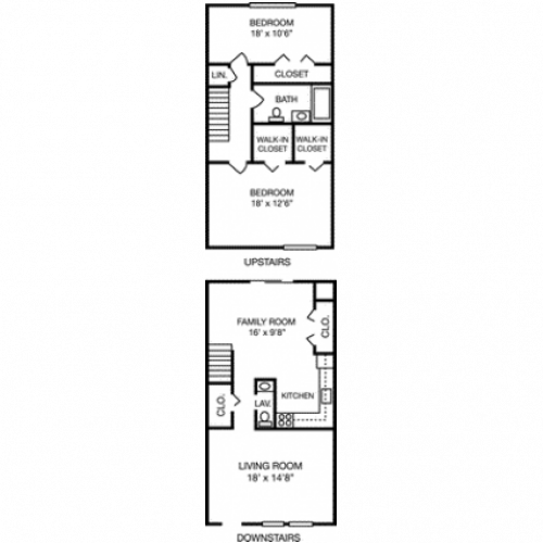 2 Bdrm Floor Plan | Apartments For Rent Milford MA | Rolling Green 3