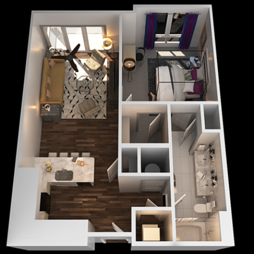 B 1 Bedroom Floor Plan | Towson Luxury Apartments | The Southerly