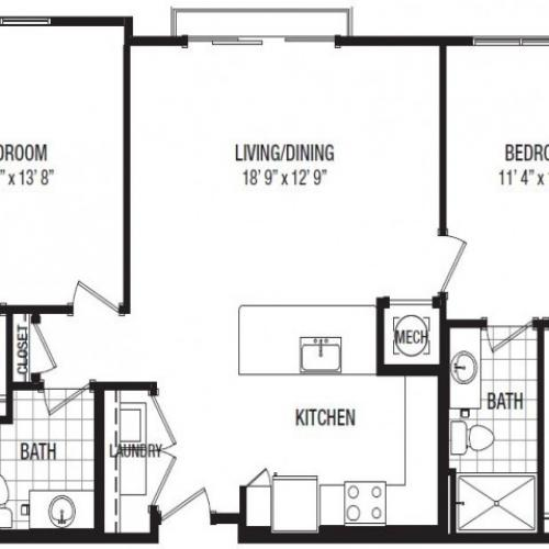 C 2 Bedroom Floor Plan | Luxury Apartments In Towson MD | The Southerly