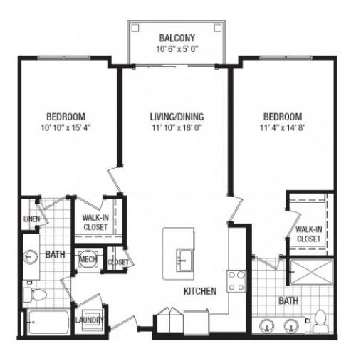 D 2 Bedroom Floor Plan | Luxury Apartments In Towson MD | The Southerly