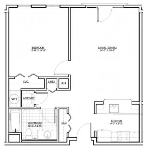 Floor Plan 1 | Apartments Everett MA | Wellington Parkside