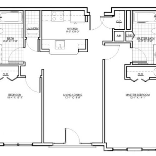 Floor Plan 9 | Luxury Apartments Malden MA | Wellington Parkside
