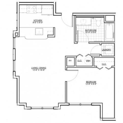 Floor Plan 2 | Everett MA Apartments | Wellington Parkside