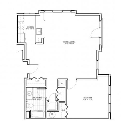 Floor Plan 8 | Luxury Apartments Medford MA | Wellington Parkside