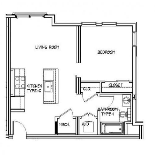 Floor Plan 5 | Apartments For Rent Allston MA | Trac 75