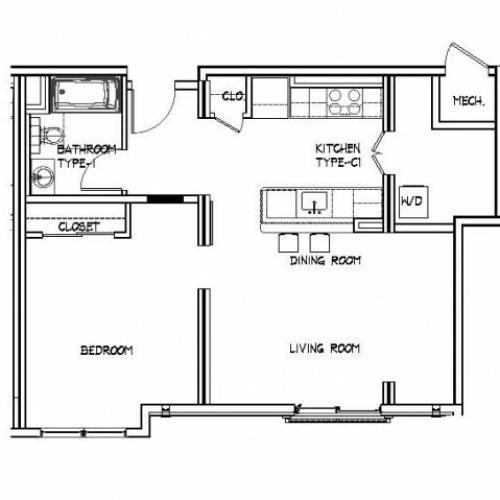 Floor Plan 8 | Apartments In Allston MA | Trac 75